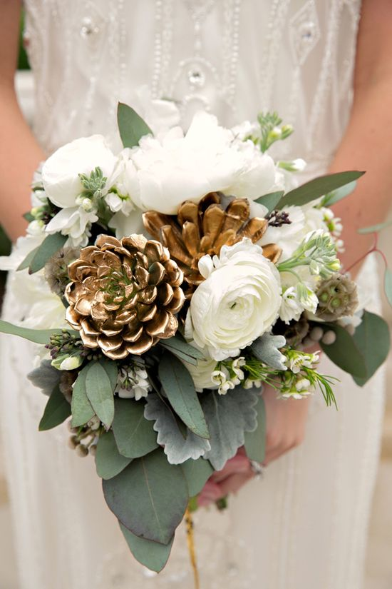 white bouquet with a shiny gold pop // photo by Katherine O'Brien Photography, flowers by Bouquets of Austin // View more: ruffledblog.com/...