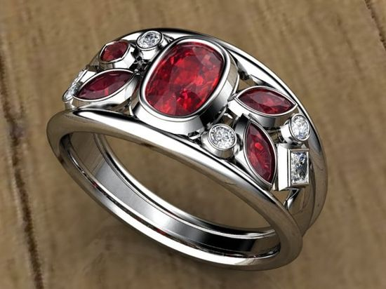 I want this but I want sapphires instead of rubies and I want the bottom princess cut diamond to be round