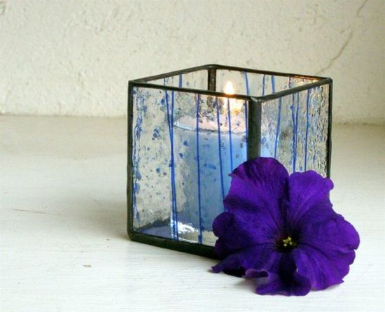 Stained Glass Votive Candle Holder Blue by GreenhouseGlassworks, $15.00