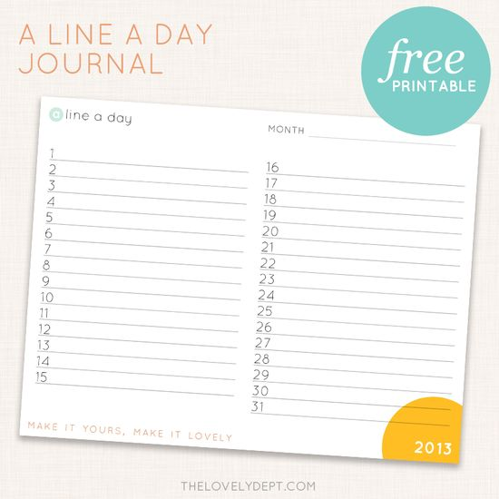 A line a day journal free printable