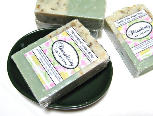 Tea Tree Lime Soap  Vegan  great for acne and by Skinplicity, $5.00