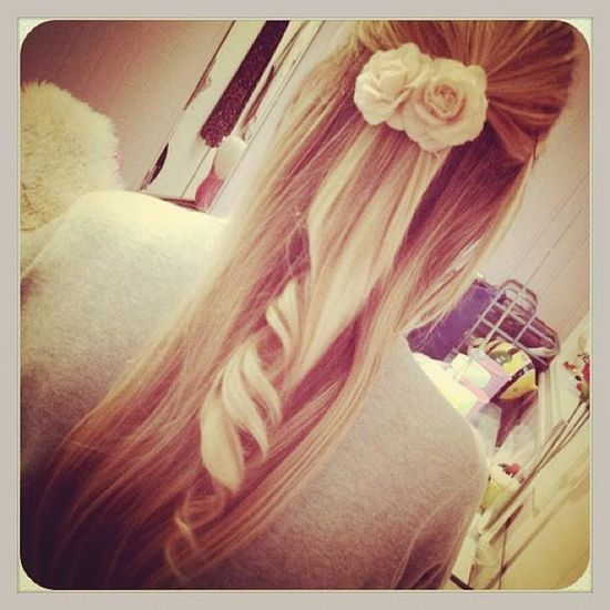 long hair with flower