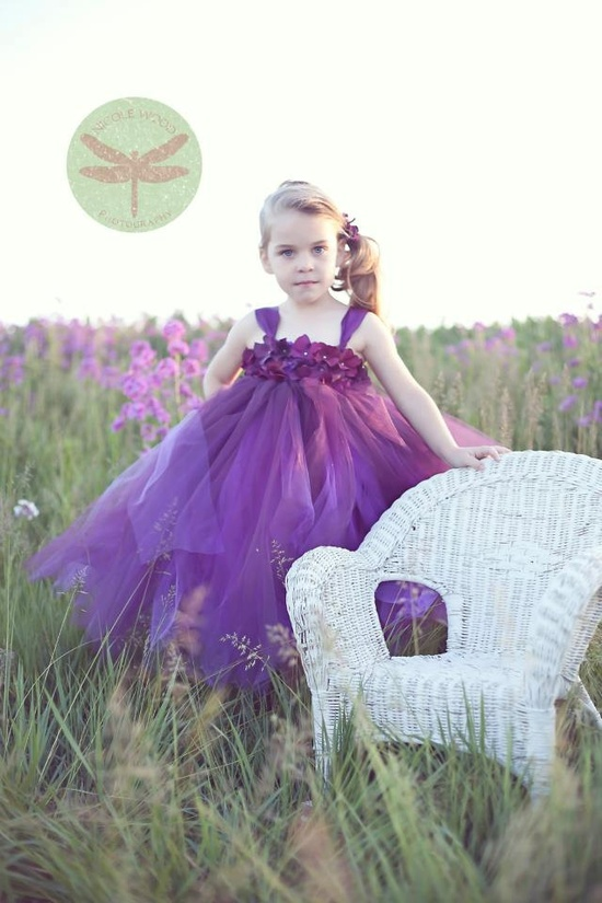 80 dollars Plum Hydrangea Tutu Flower Girl Dress
