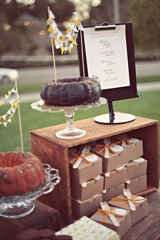 Totally adorable idea: mini bundt cakes as favors, complete with wood forks attached.