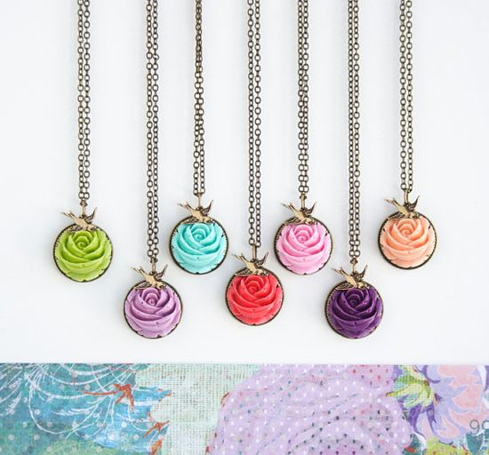 Spring Flower Garden Necklace by JacarandaDesigns on Etsy, $30.00