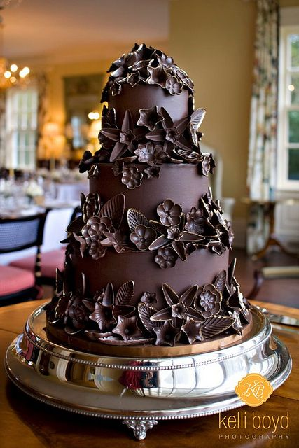 Chocolate Wedding Cake With Flowers and Leaves