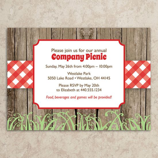 Picnic Invitation - Rustic Picnic Invitation - Company Picnic Invitation - Picnic Invite - BBQ Invitation - Cookout - DIY Printable JPEG on Etsy, $20.00