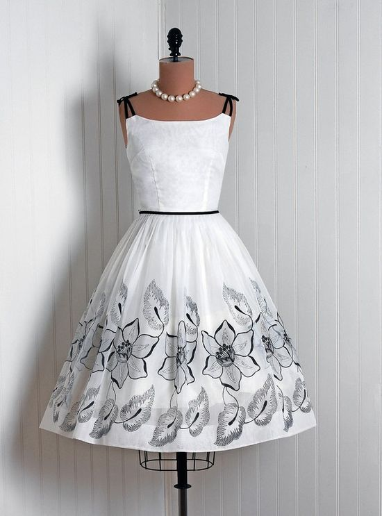 Simple perfection - white and black 1950's dress. Wedding dress?