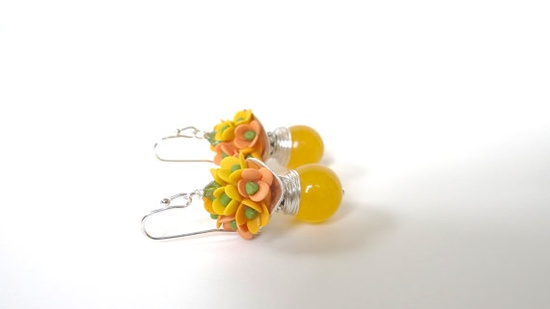 Yellow Jade Miniature  Flower Cluster Earrings Summer by Diaszabo, $23.00