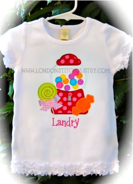 Personalized Girls Sweets Candy Gum Ball Tee T Shirt or Onesie Lollipop. $26.00, via Etsy.