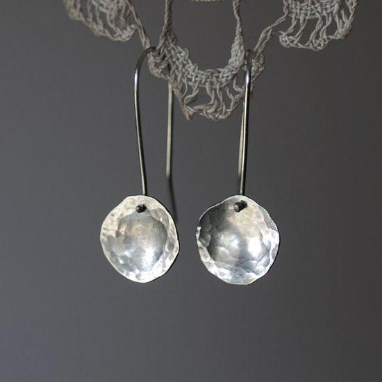 Sterling silver hammered earrings Organic by oblissjewellery, $35.00