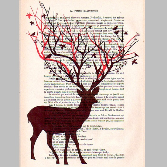 Tree Deer with Birds -Original Mixed Media Illustration - Painting on Digital Print on Paper Vintage Dictionary made in France. $9,00, via Etsy.
