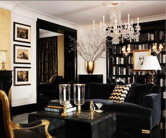 black,white,gold BOISERIE & C.: NERO BLACK NOIR: 30 idee di Arredo