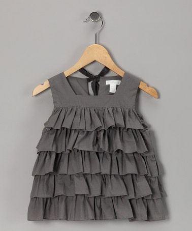 Take a look at this Flannel Gray Ambrosia Tiered Top - Toddler & Girls by Stock the Closet: Kids' Apparel on #zulily today!