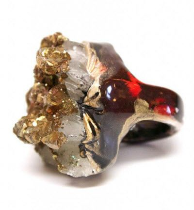 Adina Mills digs for the quartz in her handmade jewelry designs herself. These rings are particularly stunning.