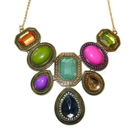 Colorful Gold Bib Necklace by CloudNineDesignz on Etsy, $45.00