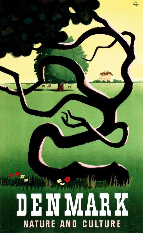 Denmark 'Nature and Culture' #travel #poster by Hillerød Frederiksborg Schiønning 1950