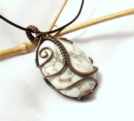 White gray pendant, howlit copper necklace, magnesite pendant
