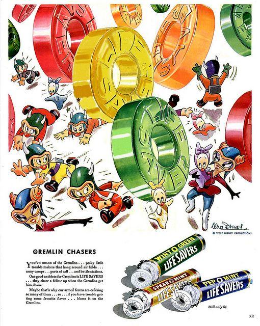 It's gremlins and Lifesavers aplenty in this delightful ad from 1943. #vintage #1940s #food #candy #ads