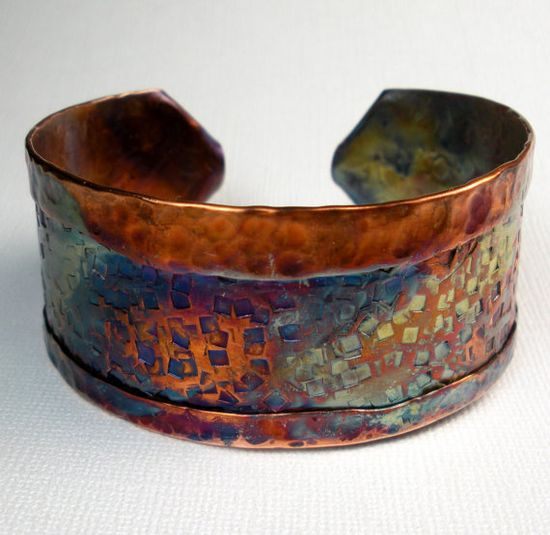 Copper Cuff Bracelet  Handmade Rustic Folded and Formed