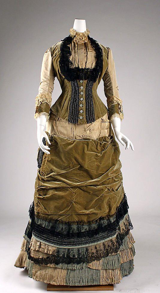 c. 1878 Silk & Cotton Dress