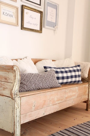 rustic bench a great use for old headboards