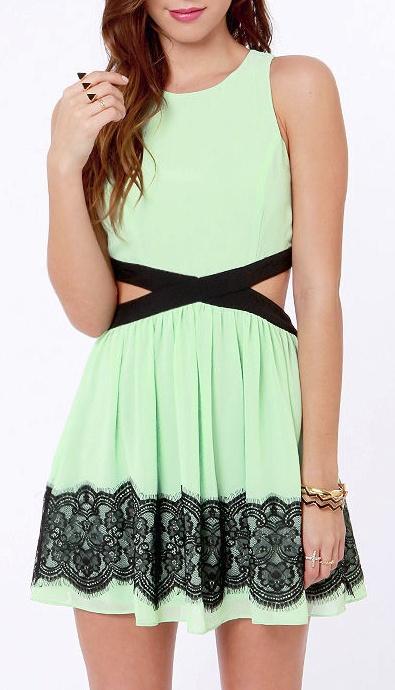 Mint lace cut out dress
