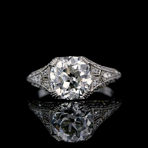 i love vintage engagement rings! 3.31 Carat Antique Cushion Diamond Edwardian Engagement Ring