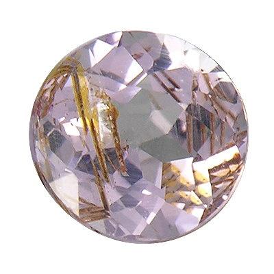 Purple Taaffeite Facet Gemstone with rutiles