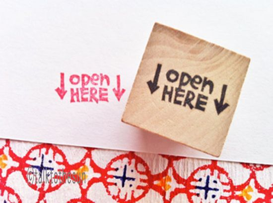 open here rubber stamp  hand carved rubber stamp  by talktothesun, $10.00