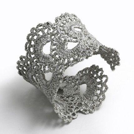 Silver Lace Crochet Cuff