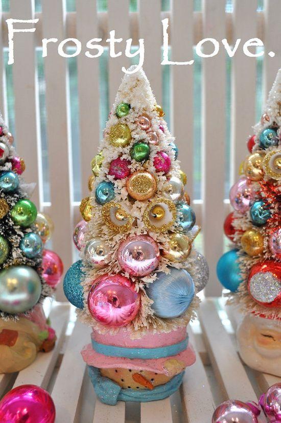 snowman bottle brush christmas tree