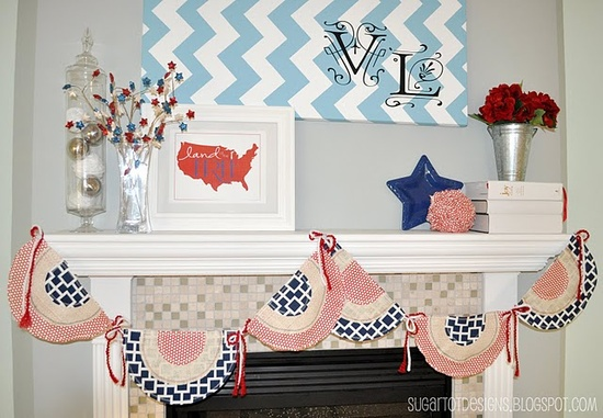 4th of July decorating. cute chevron canvas