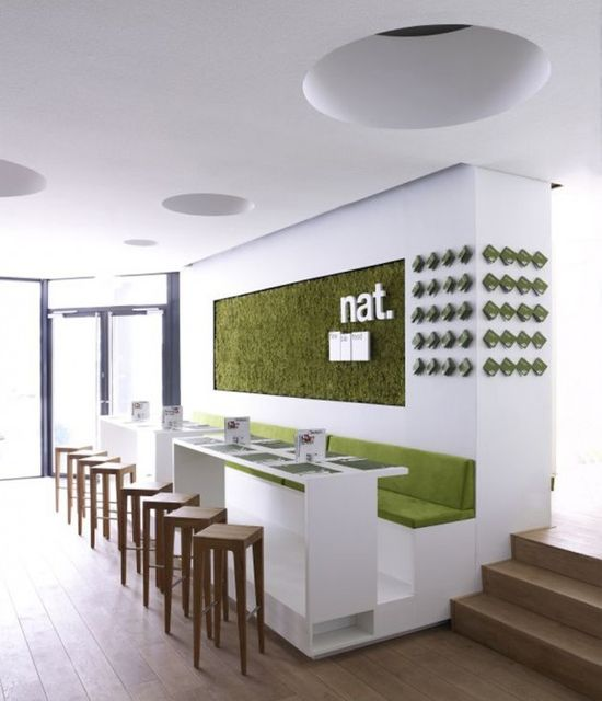 Restaurant With Green And White Color
