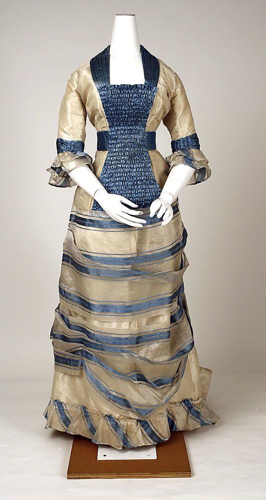 1880's silk taffeta dinner gown.
