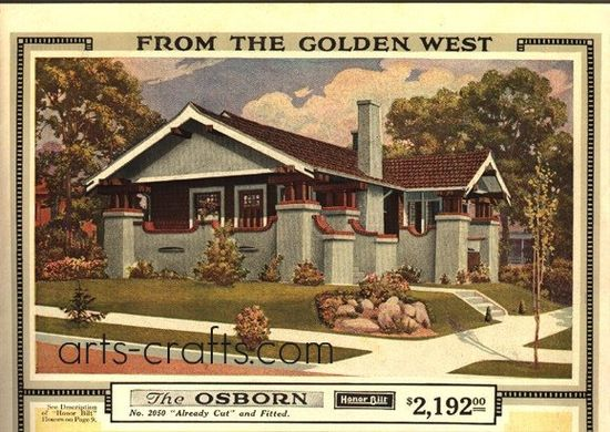 """Sears Bungalow Kit House - The Osborn    """"This Sears bungalow house plan first appeared in the 1915 Catalog. Original Price = $1106.00, by 1918 the price for the kit house (already cut and fitted) had almost doubled to $2192. Sears & Roebuck sold their kit homes until 1940."""""""