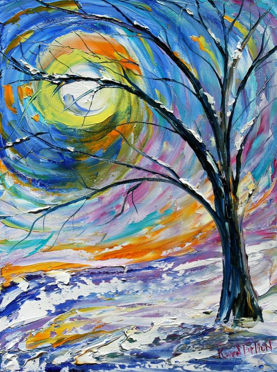 Winter Landscape Painting Original oil on canvas impressionistic palette knife fine art by Karen Tarlton