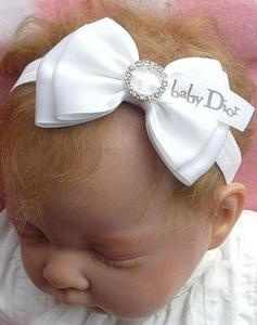 satin bow diamante buckle baby headband