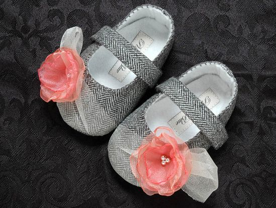 Natalie Baby Girl Shoes/Booties/Slippers Infant by pink2blue, $32.00