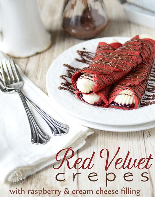 Red Velvet Crepes with Raspberry and Sweet Cream Cheese Filling