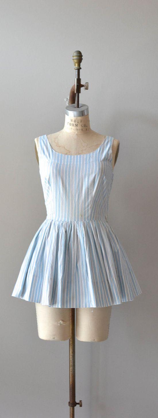 1950s swimsuit / vintage 50s bathing suit / Feedsack Stripe playsuit