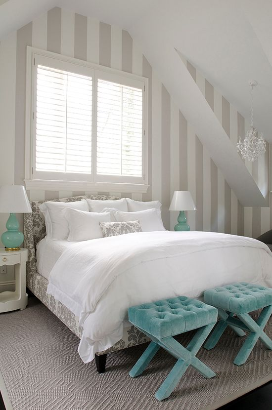 Gray, white and turquoise beach house bedroom