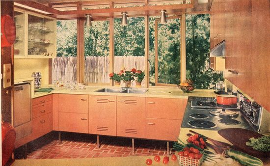 I really like the wall of windows in this lovely mid-century kitchen. #vintage #home #decor