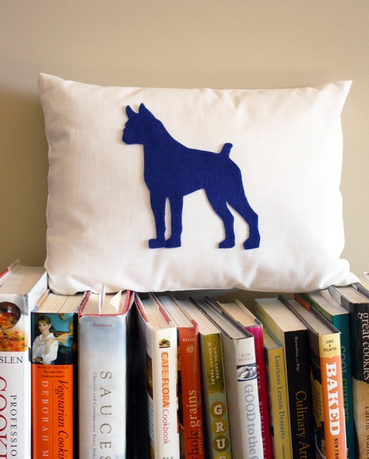 Boxer (and many others) throw pillow silhouette gifts