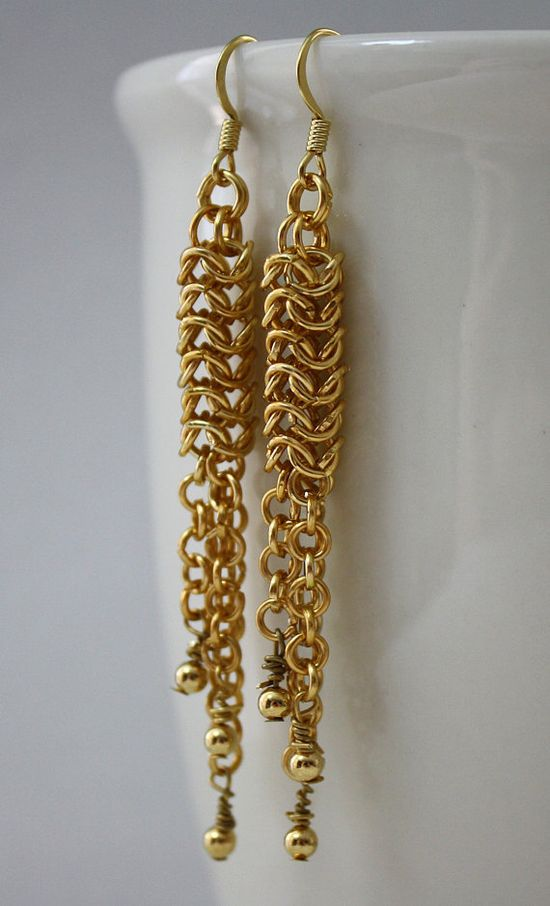 Gold Rain Roundmaille Chainmaille Earrings by GoldenHarvestStudios, $10.00