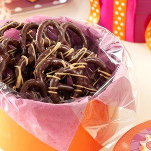 Pretzel Snack Recipes from Taste of Home, including Peanut Butter Chocolate Pretzels Recipe