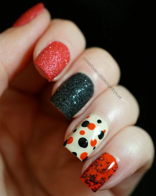 Digital Dozen Does Skittles With A Little Texture - Creative Nail Design by Sue