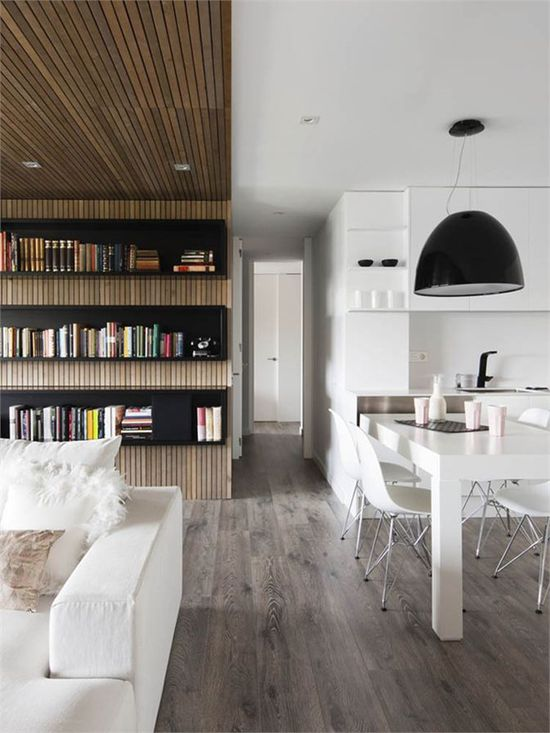 black and white combined with modern wood