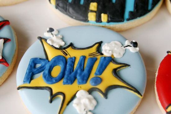 Fun cookies at a Superhero Party.  See more party ideas at CatchMyParty.com.  #superheropartyideas