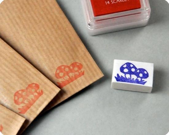 Hand carved rubber stamp - mushrooms